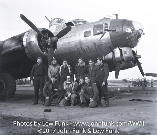 """B-17 44-8271 named """"Butch"""" with it's Crew   by John Funk from Golden Colorado"""