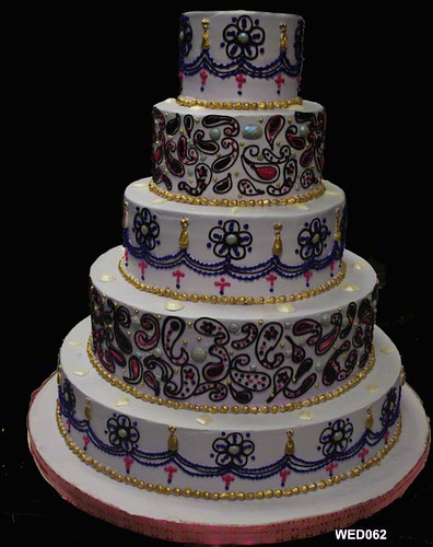 WED062 5 tier Indian Paisley wedding cake  www.3brothersbakery.com | by 3 Brothers Bakery