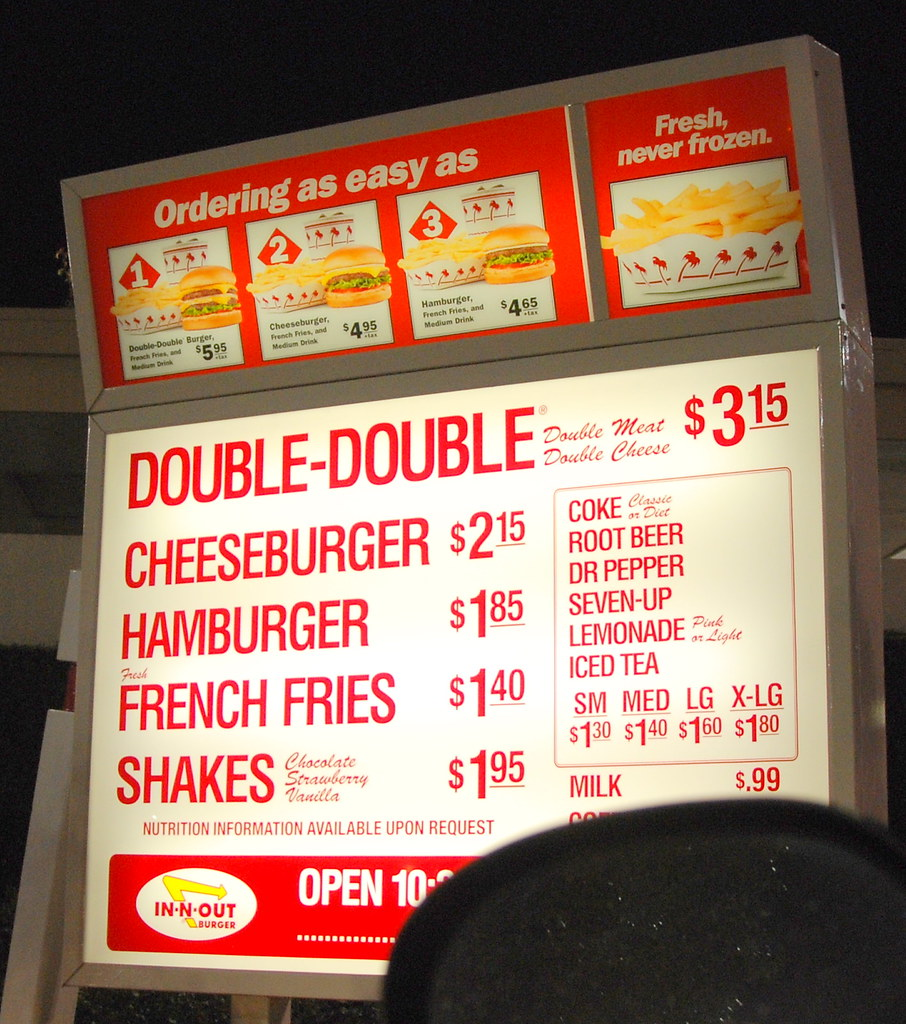 IN N OUT BURGER DRIVE THRU MENU   Compare the prices of all …   Flickr