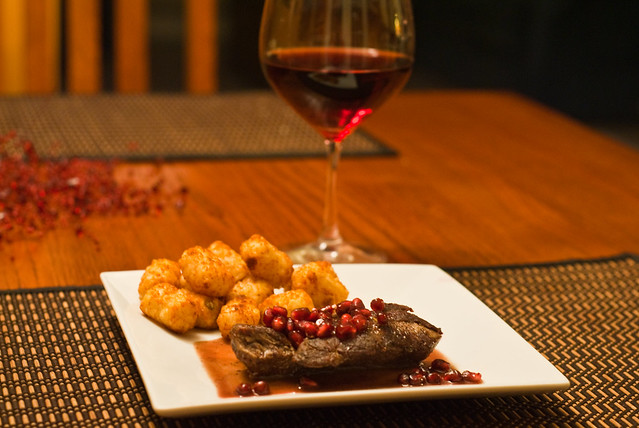 Beef Filets w/ Pomegranate-Pinot Sauce