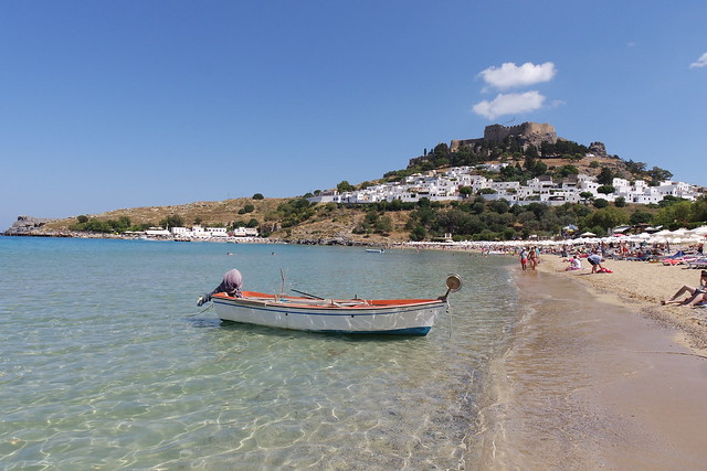 Lindos - view of Acropolis from the beach, Rhodes