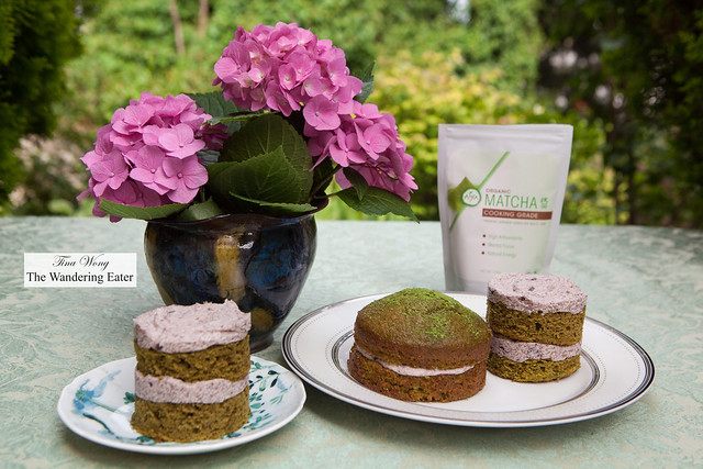 Matcha green tea cakes with adzuki bean frosting
