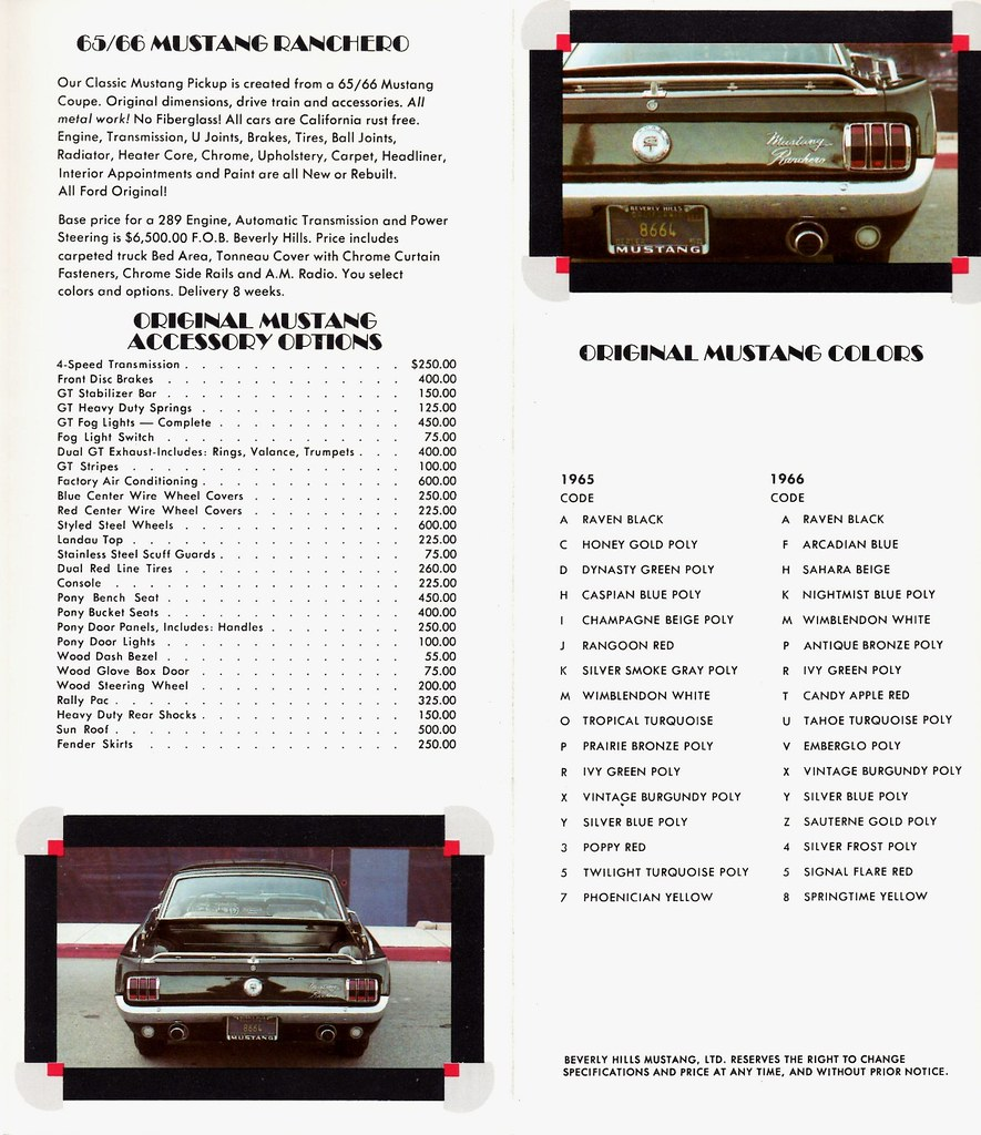 1965/66 Ford Mustang Ranchero   By Beverly Hills Mustang, Lt