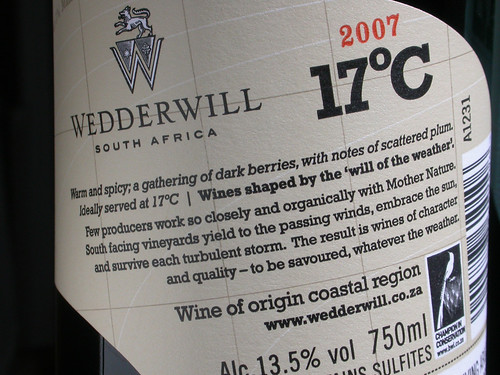 the 17ºC red blend back label | by wedderwillwines