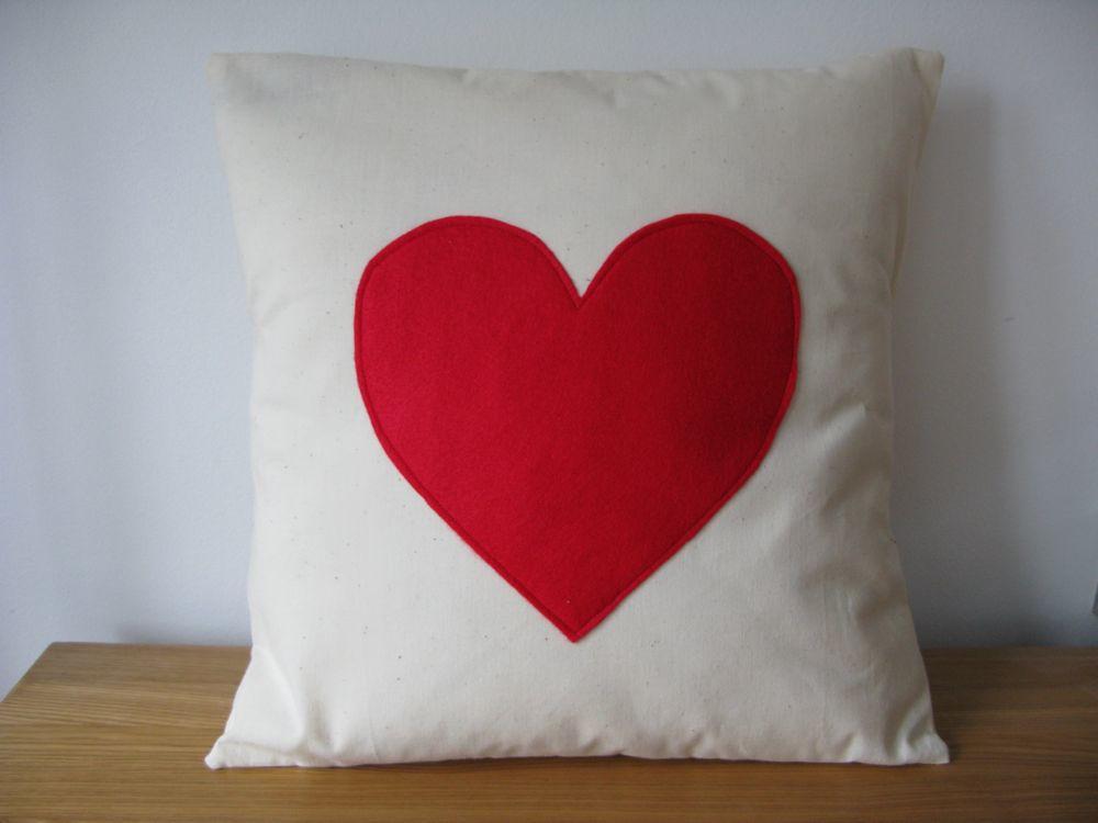 Love heart applique pillow cushion cover red cotton felt flickr