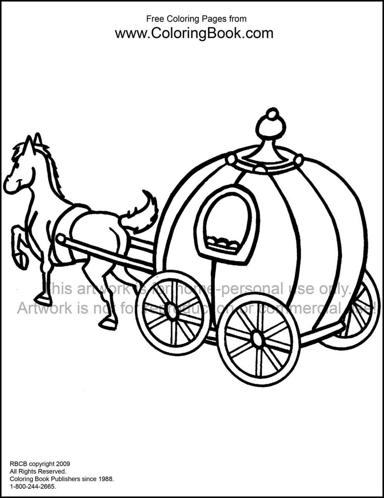 Horse and carriage free coloring page by coloringbook com