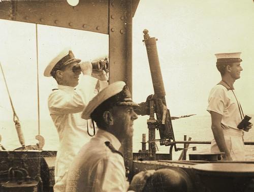 DESPERATE DAYS: Com. John Collins and Capt. Leonard Bell, RN [HMS PRINCE OF WALES],  escape Java on HMAS BURNIE, March 2 - 8, 1942 - Photostream acquisition.   by Kookaburra2011
