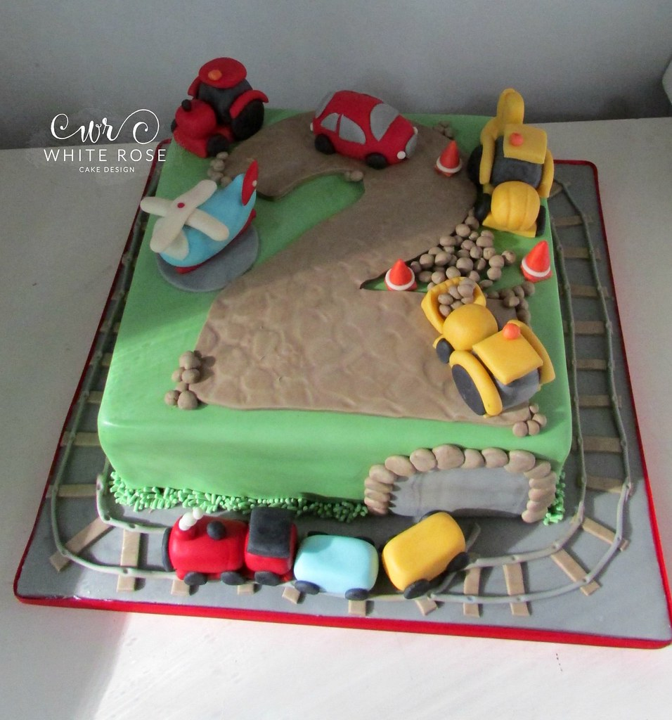 2nd Birthday Cars Tractors Diggers Themed Cake