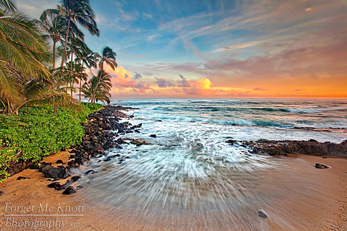 ocean trees sunset sea sky beach water clouds island hawaii coast sand rocks waves pacific coconut south palm hidden shore kauai tropical poipu brianknott forgetmeknottphotography fmkphoto