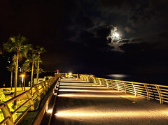 Fontvieille breakwater at night  - Monaco