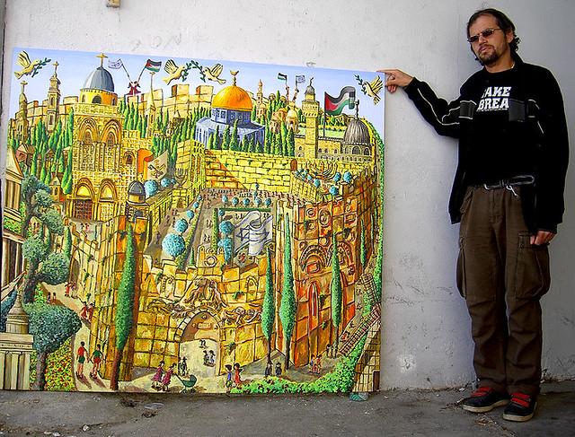 ציור נאיבי של העיר ירושלים חומות העיר העתיקה הכותל יהודים מתפללים מסגד אל אקצא כנסיית הקבר כנסיות נוצריות יהודים מוסלמים מוסלמי ארכיטקטורה אדריכלות אדריכל ערבי יהודי
