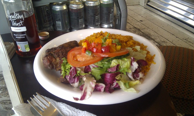 Fried Chicken with Jolof Rice and Salad