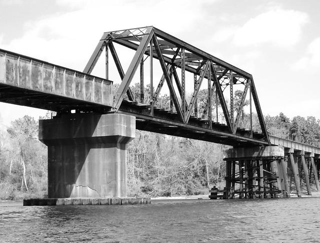 Through Truss Railroad Bridge, San Jacinto River, Crosby, Texas 0312111352BW