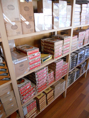 Boxes and boxes of Bolivar Cigars.