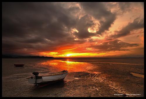 sunset newzealand boat nelson southisland atawhai