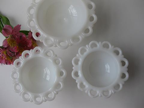 Lacy Milk Glass Bowls
