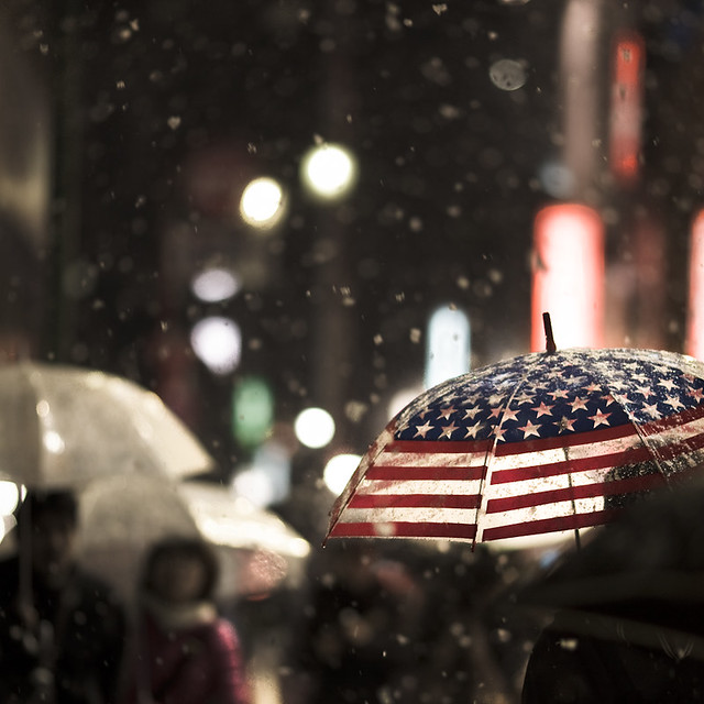 stars and stripes in snow