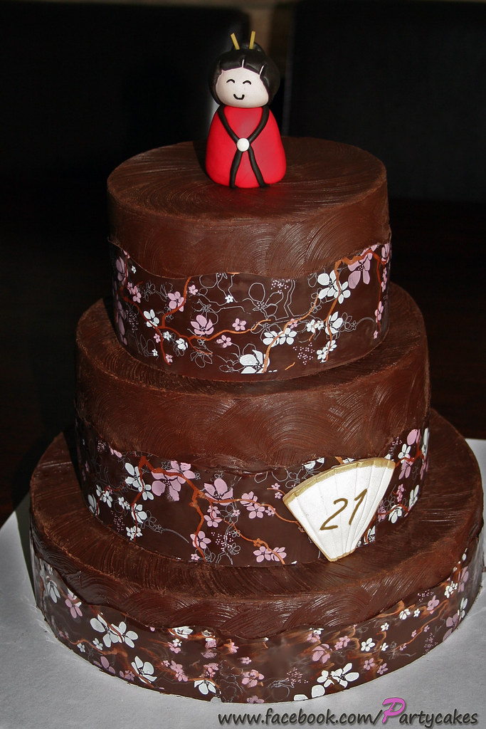 Pleasant 21St Birthday Cake Japanese Theme A 21St Birthday Cake F Flickr Funny Birthday Cards Online Inifofree Goldxyz