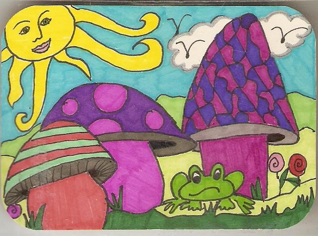 hand drawn mushroom atc Swapbot