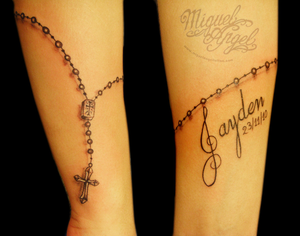 Freehand Rosary Beads And Name Tattoo Miguel Angel Custom Flickr