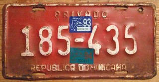 DOMINICAN REPUBLIC 1993, 1994 ---PRIVATE VEHICLE PLATE