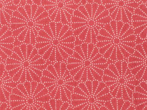 Japanese Cotton Kimono Fabric - Red Kiku Stencil Pattern