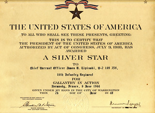 1948 - Jim's Silver Star for Gallantry in Action on D-Day, 16th Infantry Regiment