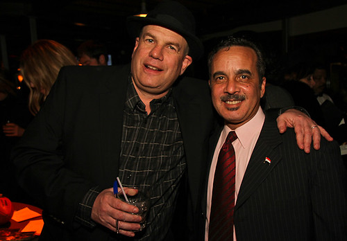 David Simon with Jacques Morial.  Jacques is a WWOZ member, volunteer, former board member, a contributing writer for Treme and he made several appearances as himself during Season One.