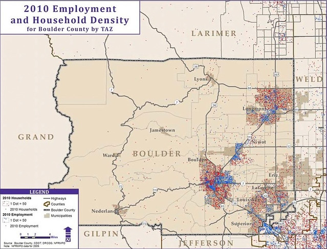 Boulder Population and Job Density 2010