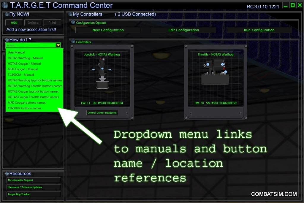 HOTAS Warthog TARGET GUI support links | Thrustmaster HOTAS
