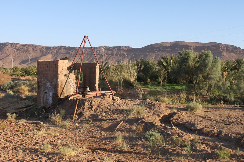 Desert agriculture - Water pump nr Zagora, Morocco