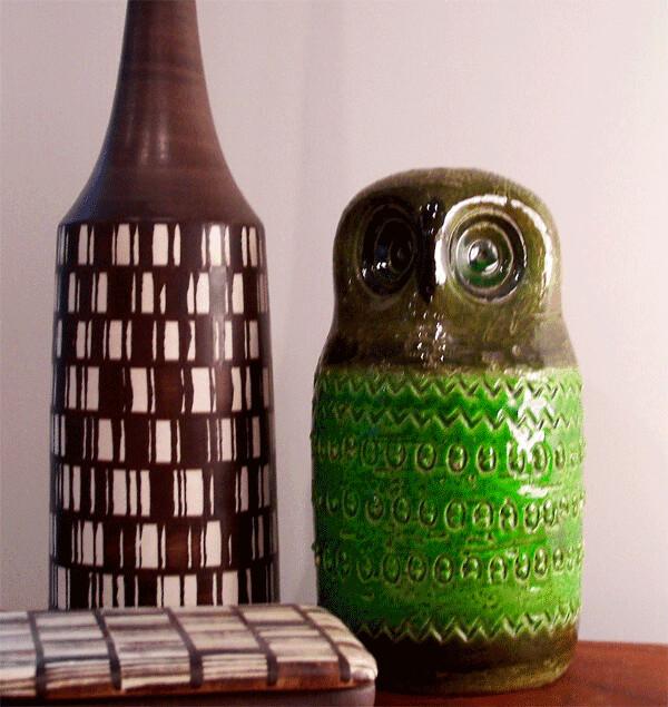 Bitossi For Raymor Owl Bank Bitossi Bottle And Bitossi