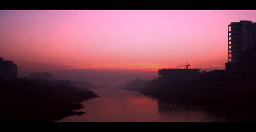 bridge winter sunrise spring paint january hues painter tones pune 2011 nikhilnigade