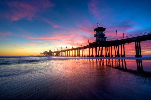 ocean california ca sunset sea clouds coast pier twilight sand wave lowtide huntingtonbeach costal huntingtonbeachpier huntingtonpier nikkor1424mm