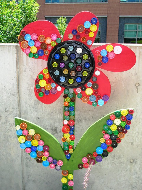 Reuse, Recover, Repurpose, Bottle Cap Bugs and Festive Flowers, Racine Art Museum, Racine, Wisconsin