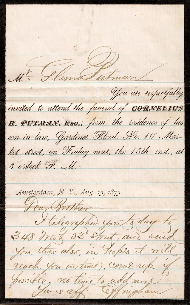 Funeral Invitation And Letter 1873 Mr Glenn Putman Yo Flickr