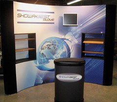 10' Popup Display with mural panels, monitor mount, and internal shelves