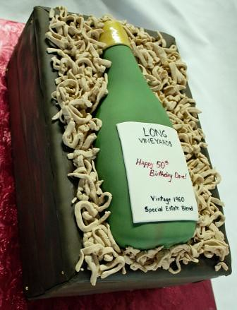 Wine Bottle 50th Birthday Cake In Crate Long Vineyards
