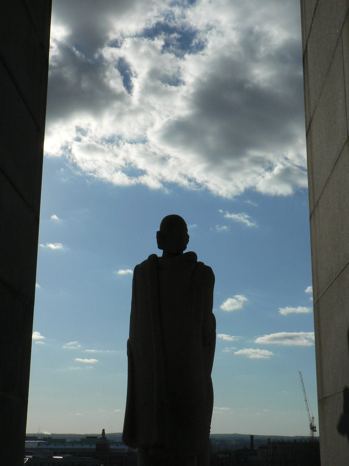 The statue of Roger Williams in Prospect Terrace Park, overlooking downtown Providence, RI. Taken by me in 2006.