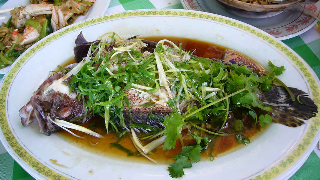 Gold Coin grouper, steamed with ginger and scallions