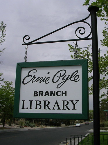 Ernie Pyle library - sign | by h. wren