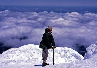 Phelps Deerson on the summit of Taranaki, New Zealand, 1968