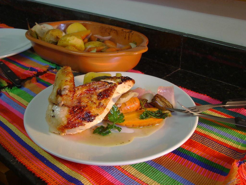 Pollo al horno para navidad