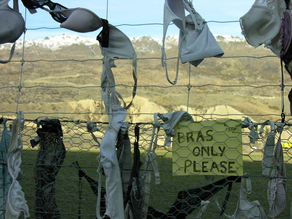 the 'bra fence', Cardrona Road, Central Otago, NZ