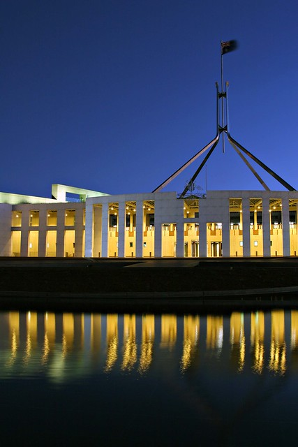 Federal Parliament by Night