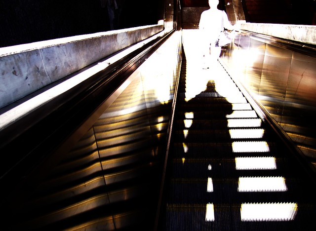 self portrait with escalator and ghost