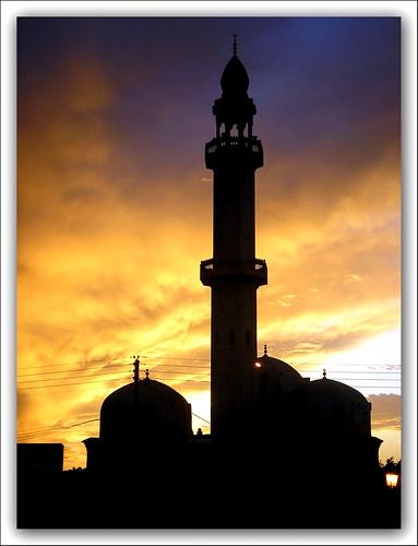 sunset sun algeria minaret mosque algerie blida البليدة الجزائر