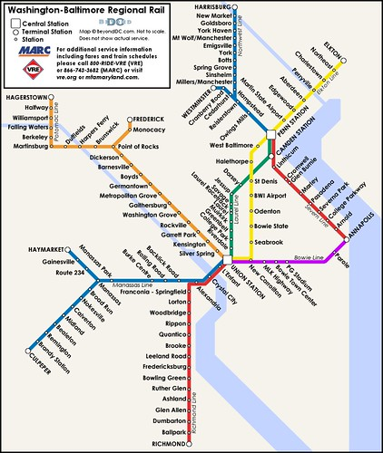 ... Proposed map of a Washington-Baltimore regional rail system - by rllayman