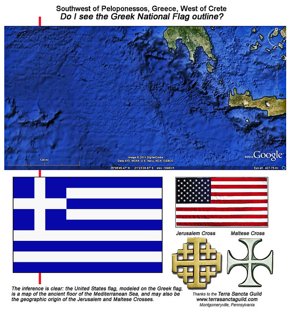 Southwest of Peloponessos, West of Crete, East of Sicily, Plausible Map origin of Greek and United States Flags, Jerusalem and Maltese Cross Designs