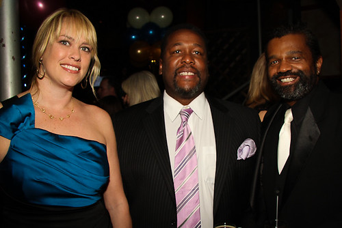 Lauren Del Rio, WWOZ's Major Gifts Officer, with Treme actor Wendell Pierce and Dwayne Breashears.